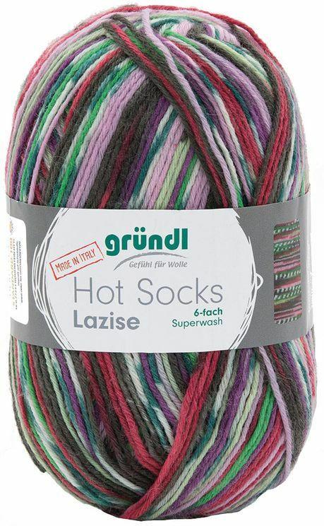 """GRÜNDL Wolle """"Hot Socks Lazise"""" 150g tannengrün/rosa/flieder"""