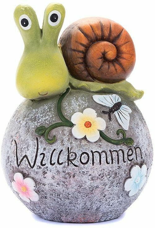 """XXL Standdeko """"Schnecke - Willkommen"""" 37,5 cm grün"""