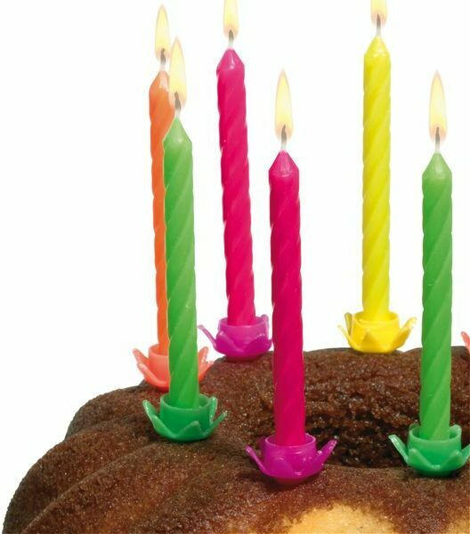 Geburtstagskerzen 12 Stück neonfarben