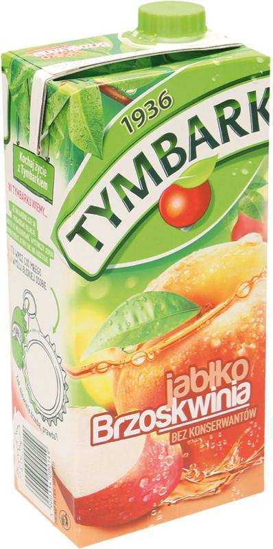 Erfrischungsgetränk mit Apfel- und Pfirsichsaft aus Fruchtsaftkonzentrat. Mit Zucker und Süßungsmittel. Pasteurisiert