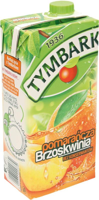 Erfrischungsgetränk mit Orangen- und Pfirsichsaft aus Fruchtsaftkonzentraten. Mit Zucker und Süßungsmittel. Pasteurisiert