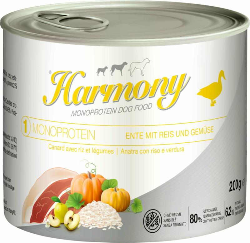 Harmony Dog Monoprotein Ente mit Reis & Gemüse 12x200g