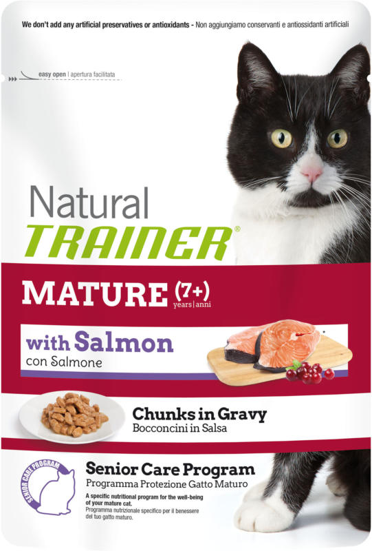 Trainer Nourriture humide Mature Saumon 12x85g sachet