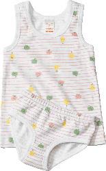 PUSBLU Kinder Unterwäsche Garnitur, Gr. 104, in Bio-Baumwolle, weiß, bunt