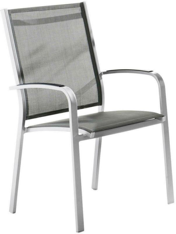 Stapelsessel in Metall, Textil Graphitfarben, Grau