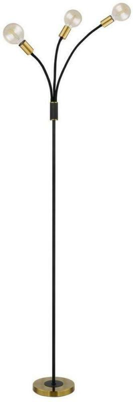 Stehlampe 54010-3s Schwarz/ Gold, 3-Flammig verstellbar