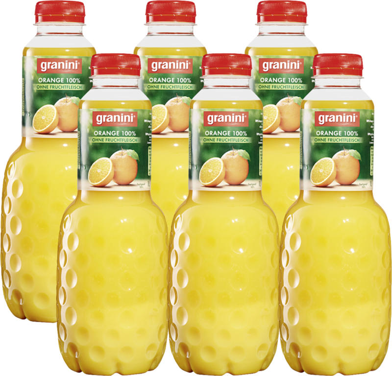 Jus d'orange Granini, sans pulpe, 6 x 1 litre