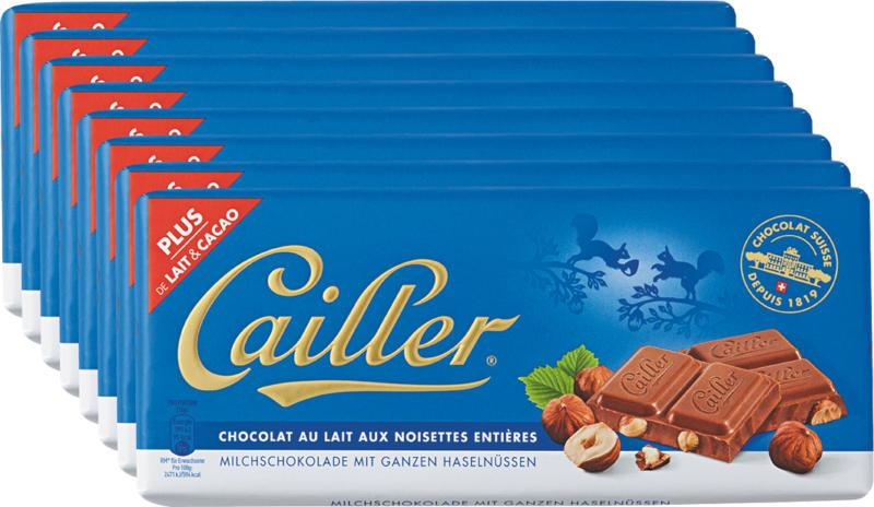 Tavoletta di cioccolata Cailler, Latte, nocciole intere, 8 x 100 g