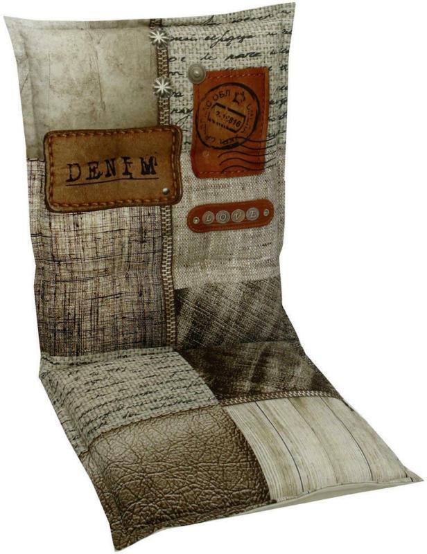 Sesselauflage in Braun, Naturfarben, Beige Schriftzug