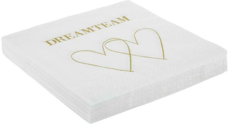 Serviette Dreamteam in Weiß/Gold