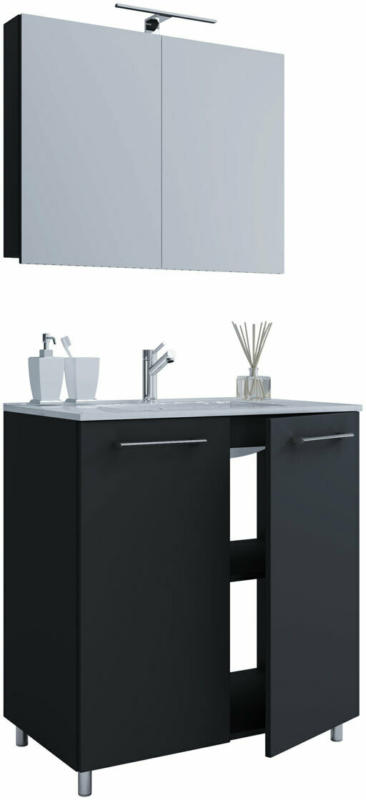 Stand-Waschplatz, 80 cm, 3-teilig, 2 Türen, mit Spiegelschrank, schwarz schwarz