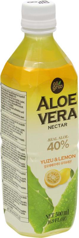 Aloe Vera Nektar mit Yuzu und Zitrone, weniger süss