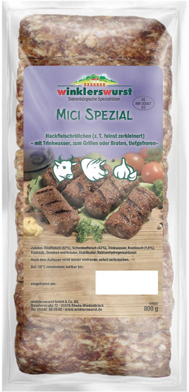 Mici Spezial, Hackfleischzubereitung Siebenbürger Art, tiefgefroren