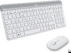 LOGITECH MK470 Slim Combo, Tastatur-Maus Set, Weiß