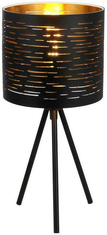 Tischlampe Tunno Schwarz/Gold mit Metallenem Lampenschirm