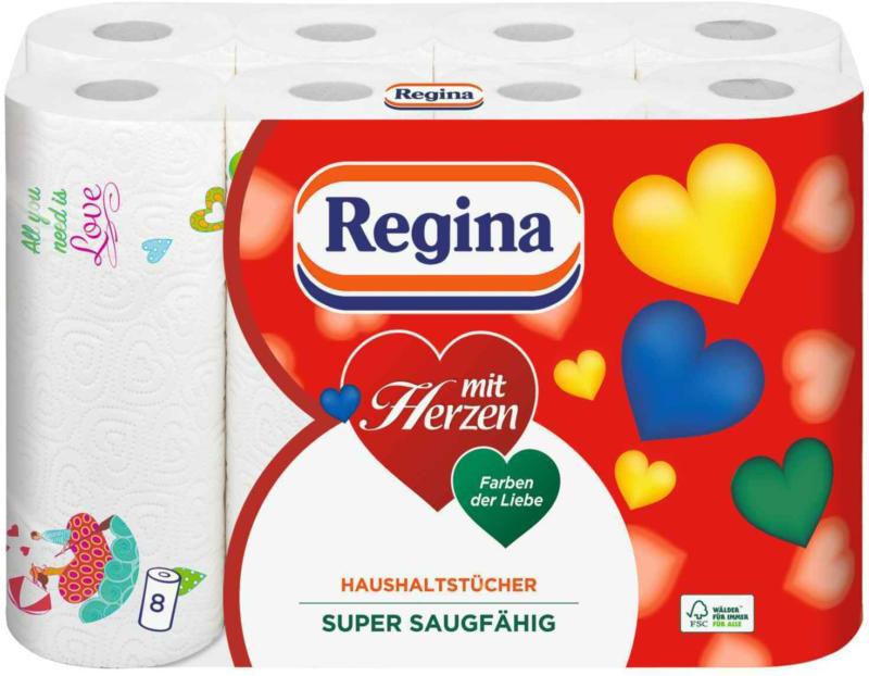 Regina Papier ménage avec coeurs 8 rouleaux -