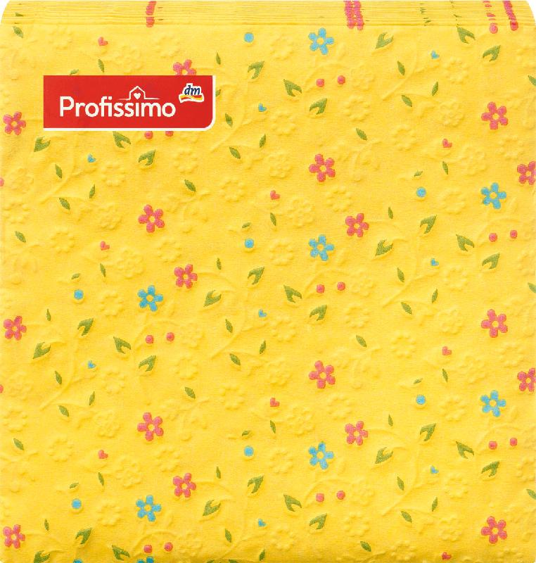Profissimo Servietten Gelb mit Blumen (25 x 25 cm)