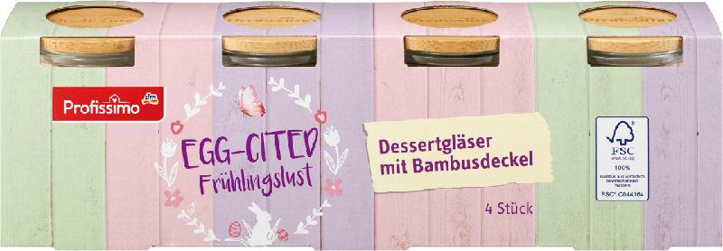 Profissimo Dessertgläser mit Bambusdeckel