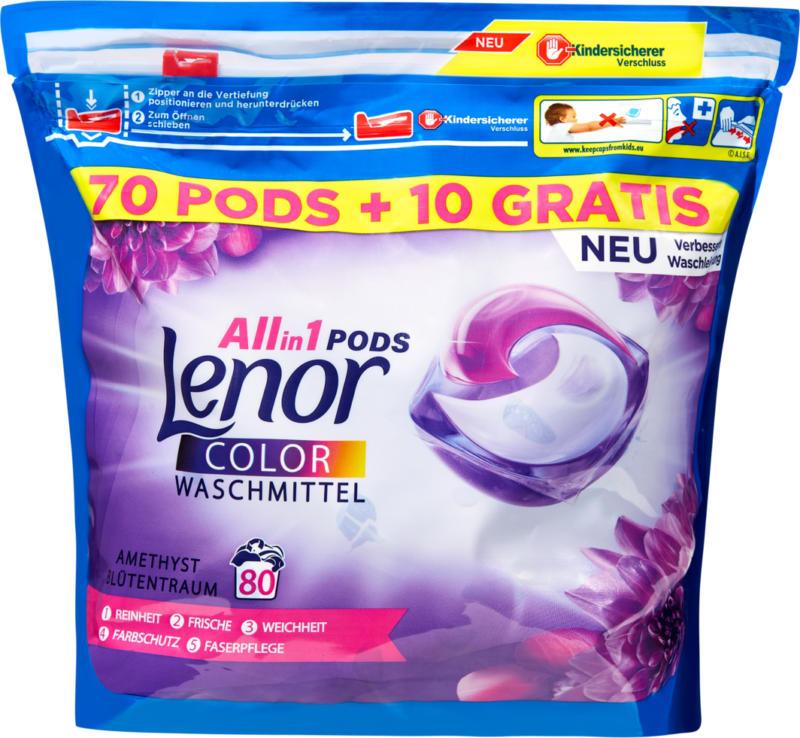 Detersivo All in 1 Pods Color Amethyst & Floral Bouquet Lenor, 70 pods + 10 gratis, 80 cicli di lavaggio