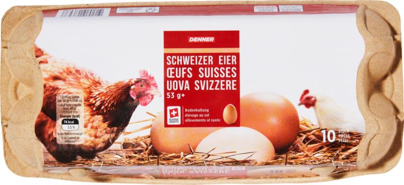 Uova svizzere Denner, da allevamento al suolo, 10 x 53 g