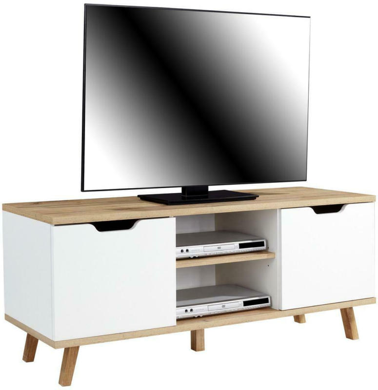 TV-Regal Turin B: 140 cm Weiß, Wotan Eiche