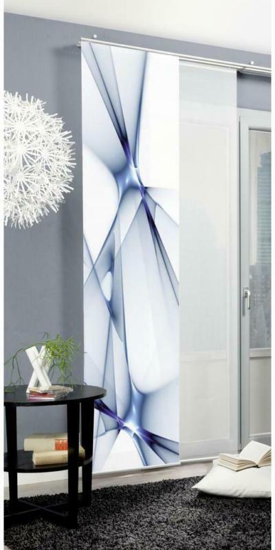 Vorhang mit Paneelwagen Franklin B: 60 cm, Blau/Weiß