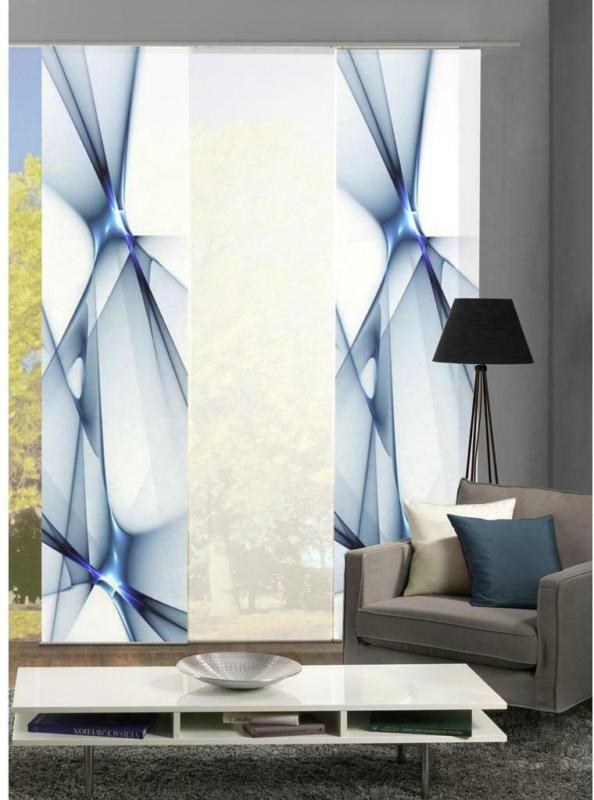 Vorhang mit Paneelwagen Franklin B: 180cm, Blau/Weiß