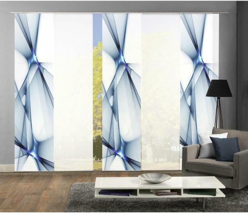 Vorhang mit Paneelwagen Franklin B 300cm, Weiß/Blau