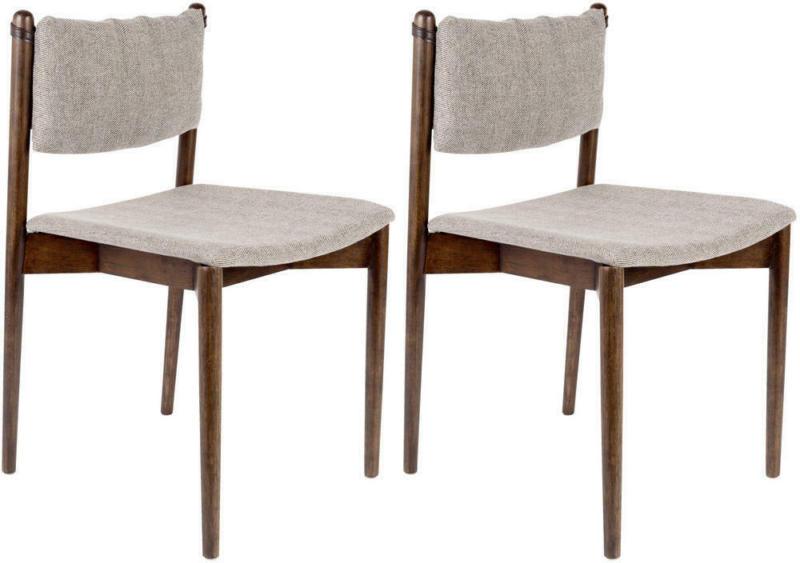 Stuhl-Set in Holz, Textil Grau, Dunkelbraun