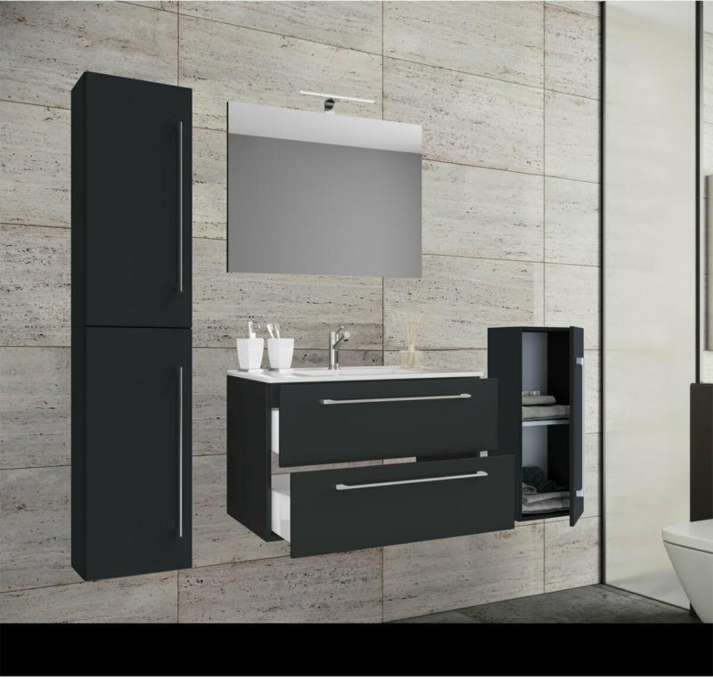 Waschplatz, 60 cm, 5-teiliges Set, 2 Schubfächer, mit Spiegel, schwarz schwarz