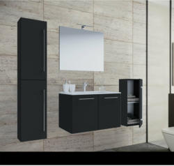 Waschplatz, 60 cm, 5-teiliges Set, 2 Türen, mit Spiegel, schwarz schwarz
