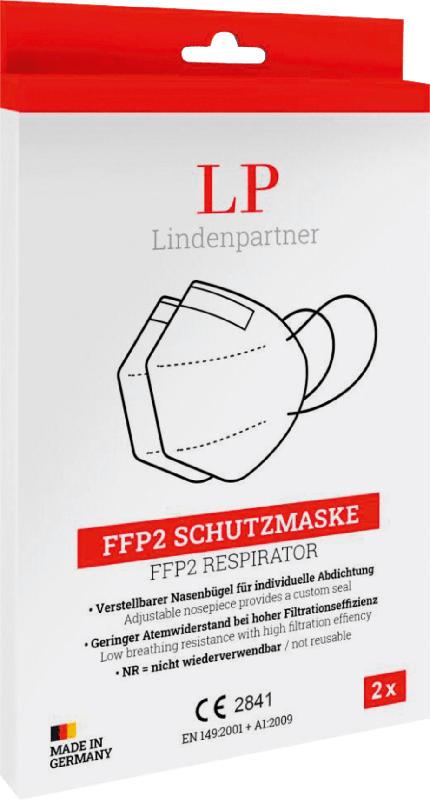 Lindenpartner FFP2 Atemschutzmaske für Erwachsene, Einweg