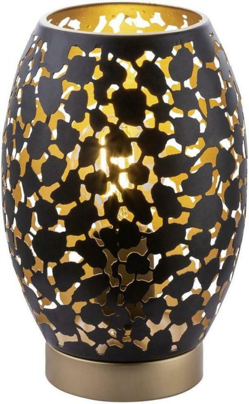 Tischlampe Narri Schwarz/Gold mit Blättermuster
