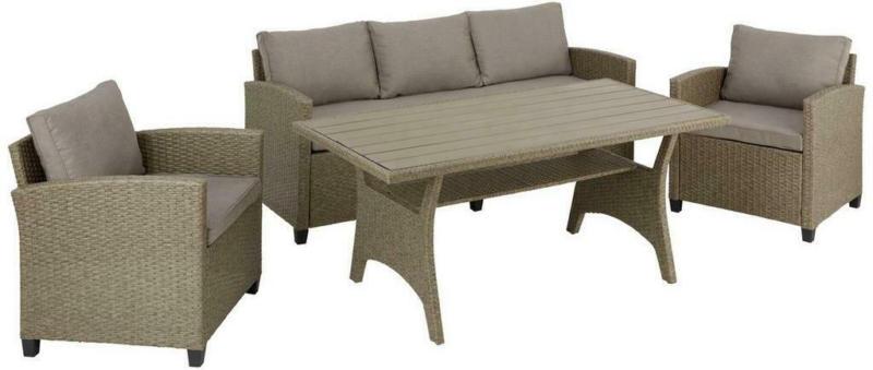 Loungegarnitur 4-Tlg. Lisabon aus Kunststoff mit Kissen