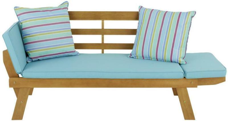 Gartenbank Holz 2-Sitzer mit Liegefunktion und Kissen