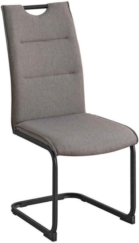 Schwingstuhl in Metall, Textil Grau, Schwarz