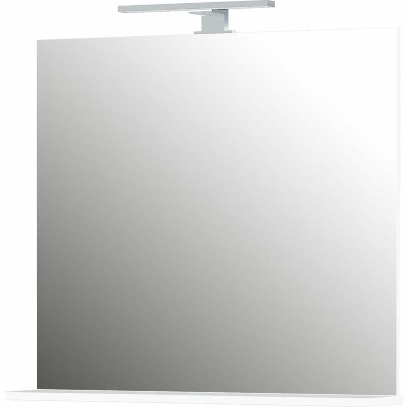 Spiegel, weiß, mit Ablageboden und LED-Beleuchtung, 76x75x15 cm
