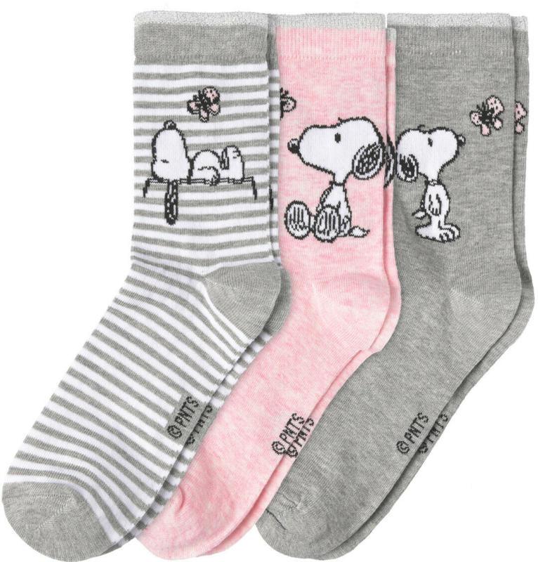 3 Paar Snoopy Socken in verschiedenen Dessins (Nur online)