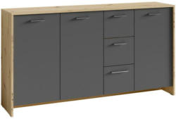 Sideboard B 153cm Benno, Anthrazit/Eiche Dekor