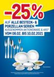 METRO -25% auf alle Besteck- und Porzellanserien - bis 10.02.2021