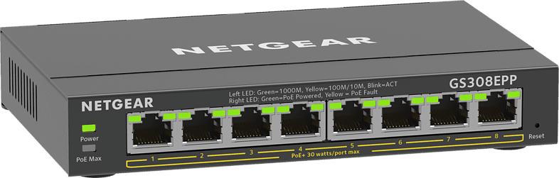 SOHO GS300 Desktop Gigabit Smart Switch, 8x RJ-45, 120W PoE+, Schwarz (GS308EPP-100)