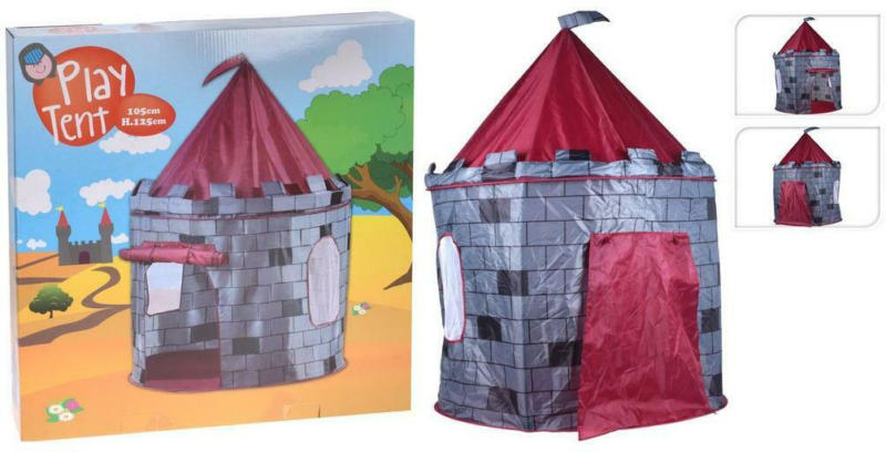 Spielzelt Grau/Rot Burg B: 105 cm
