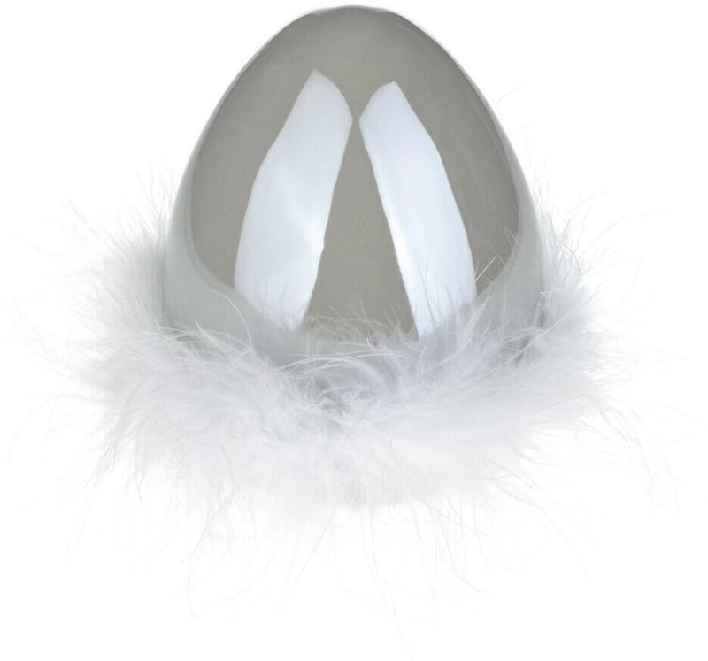 Mittelgroßes Deko-Ei mit Federn (Nur online)