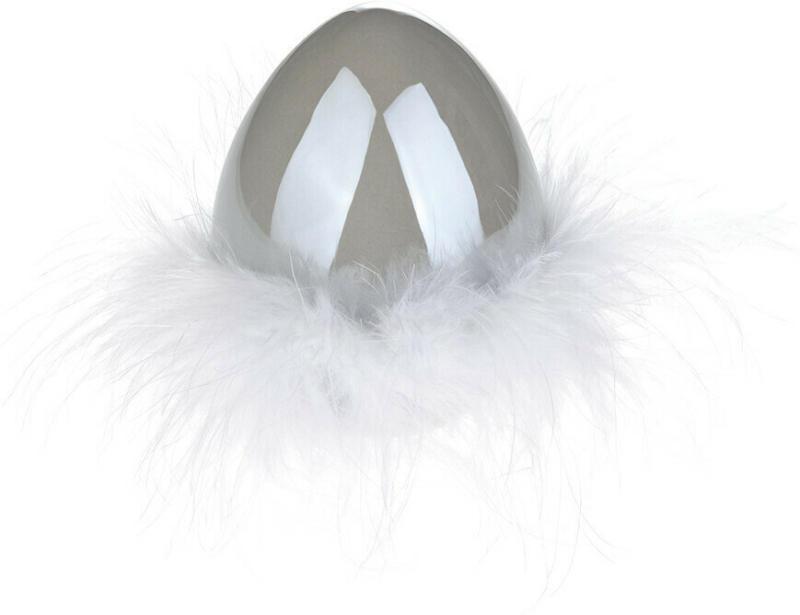Kleines Deko-Ei mit Federn (Nur online)