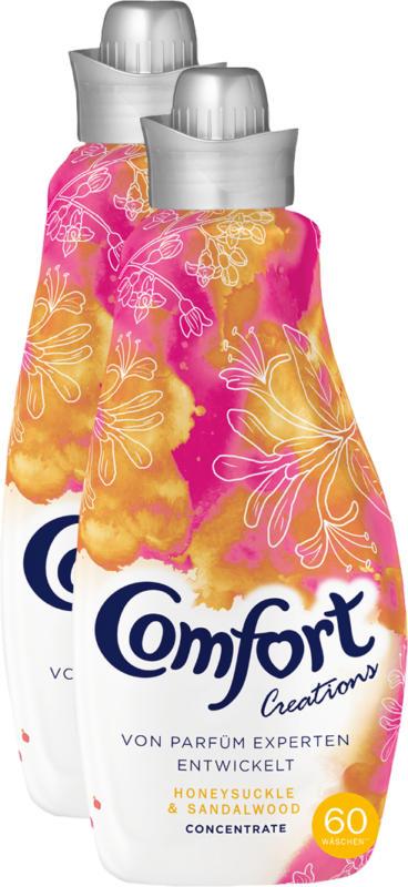 Comfort Concentrate Weichspüler Honeysuckle & Sandalwood, 2 x 60 Waschgänge, 2 x 1,5 Liter