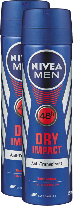 Nivea Men Deo Spray Dry Impact, 2 x 150 ml