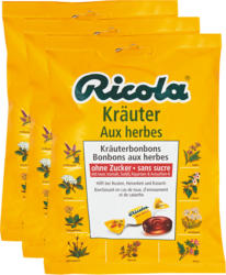 Ricola Kräuterbonbons, Original, ohne Zucker, 3 x 125 g