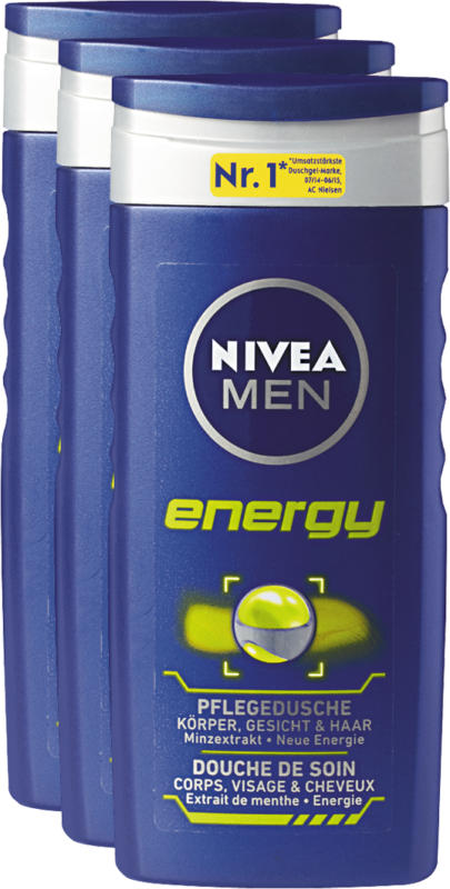 Prodotti doccia Nivea, for men Energy, 3 x 250 ml