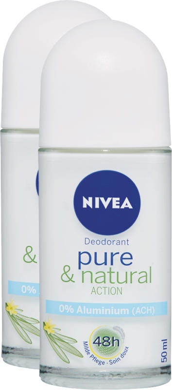 Nivea Deo Roll-on, Pure & Natural Action, 2 x 50 ml