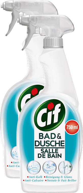Cif Reinigungsmittel, Spray Bad & Dusche, 2 x 750 ml